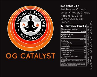 OG Catalyst Juicy Melt Supreme Hot Sauce Label